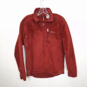 Patagonia Fleece Half Zip Pull Over Red Sweater